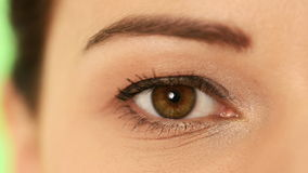 Eye of a beautiful woman. stock footage