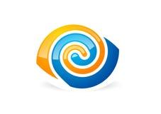 Eye vision logo,circle optic symbol,sphere vortex icon vector illustration Stock Image