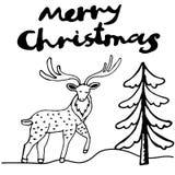 För hjortfärgpulver för glad jul kort för hälsning Royaltyfri Foto
