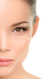 Face lift anti-aging treatment - Asian woman Royalty Free Stock Images