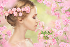 Face of young beautiful woman with pink flowers in her hair Stock Image