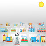 Factory flat industry background  with manufactory Royalty Free Stock Photos