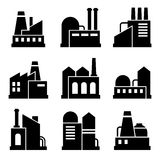 Factory and Power Industrial Building Icon Set Royalty Free Stock Photos