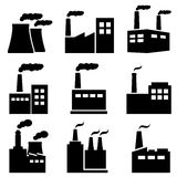 Factory, power plant industrial icons Royalty Free Stock Images