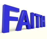 Faith Word Showing Spiritual Belief Or Trust Stock Photos