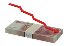Falling of the Chinese yuan Stock Images