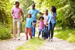 Famiglia afroamericana della multi generazione sulla passeggiata del paese Immagini Stock
