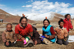 Familia en Tíbet Imagen de archivo libre de regalías