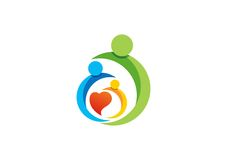 Familie, Elternteil, Kind, Herz, Logo, Parenting, Sorgfalt, Kreis, Gesundheit, Bildung, Symbolikonen-Designvektor Lizenzfreie Stockfotografie