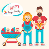 Famille nombreuse heureuse Photo stock