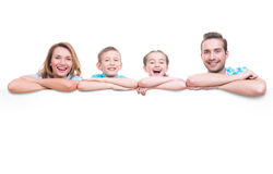 Family with a banner Royalty Free Stock Image