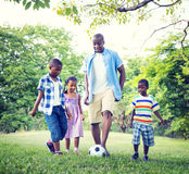 Family Bonding Recreation Sports Football Concepts Royalty Free Stock Image