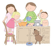 Family cooking Royalty Free Stock Photos
