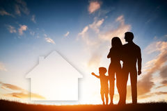 Family dream about a new house, home. Child, parents. Royalty Free Stock Photo