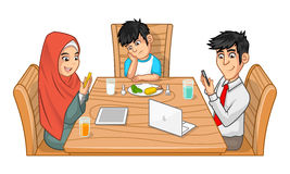Family Eating Together Cartoon Character with SUllen Boy Stock Images
