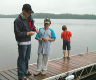 Family Fishing Weekend Ontario Canada Stock Images