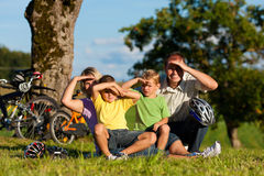 Family on getaway with bikes Stock Photography