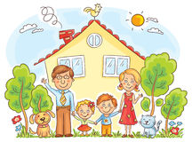 Family at the House Royalty Free Stock Photo