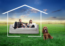 Family with pet Stock Photos