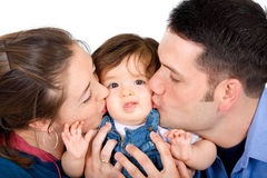 Family portrait kissing Stock Images