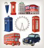 Famous London sights and retro elements of city architecture Royalty Free Stock Photo