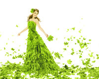 Fantasy beauty, woman in leaves dress Royalty Free Stock Photo
