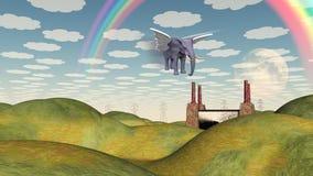 Fantasy Landscape Winged Elephant Stock Photo