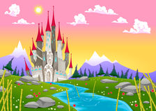 Fantasy mountain landscape with medieval castle Stock Photos