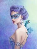 Fantasy winter woman,  beautiful snow queen in  mask with  blue dragon Royalty Free Stock Photo