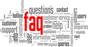 FAQ Tag Cloud (information support customer service hotline button) Royalty Free Stock Images