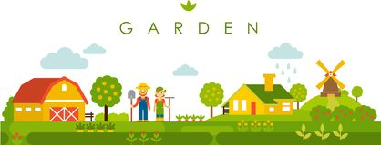 Farm garden panoramic landscape background in flat style Stock Photography