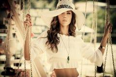 Fashion in amusement park Stock Images