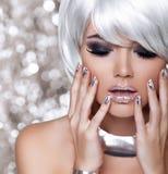 Fashion Blond Girl. Beauty Portrait Woman. White Short Hair. Iso Stock Photos