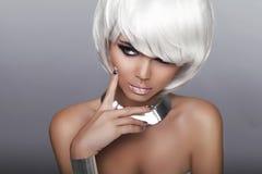 Fashion Blond Girl. Beauty Portrait Woman. White Short Hair. Iso Stock Image
