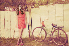 Fashion girl on country Stock Image