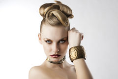 Fashion girl with leopard makeup, Stock Image