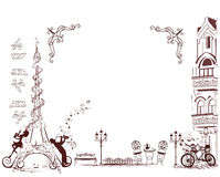 Fashion girl rides a bicycle, decorated with a musical stave and butterflies. Stock Images