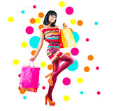 Fashion girl with shopping bags Royalty Free Stock Photo