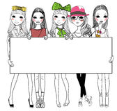 Fashion girls with banner Royalty Free Stock Images