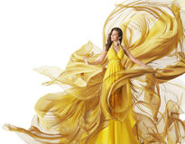 Fashion Model Dress, Woman Flowing Fabric Gown, Clothes White Royalty Free Stock Photography