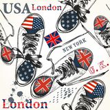 Fashion seamless pattern with sports boots decorated by British Stock Photography