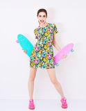 Fashion sexy vogue model in colorful dress with Royalty Free Stock Photo