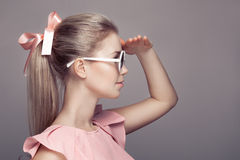 Fashion Woman In Sunglasses Looking Away Royalty Free Stock Photo