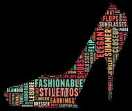 Fashion word cloud in a shape of high heel. Stock Images
