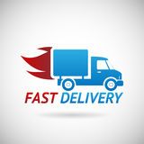 Fast Delivery Symbol Shipping Truck Silhouette Stock Images