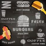 Fast food chalkboard Stock Photography