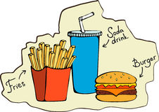 Fast food fries, burger, soda drink - Vector illustration Royalty Free Stock Images