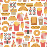 Fast food pattern Stock Images