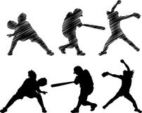Fast Pitch Softball Silhouettes Royalty Free Stock Photos