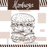 Fasta food plakat z hamburgerem Ręka remisu retro ilustracja Obraz Royalty Free